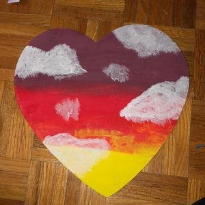 Heart Shaped Acrylic Painting